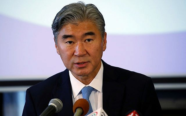 US Ambassador to the Philippines Sung Kim seen answering questions at a forum with the Foreign Correspondents Association of the Philippines, October 26, 2017, in Manila, Philippines. (AP Photo/Bullit Marquez)