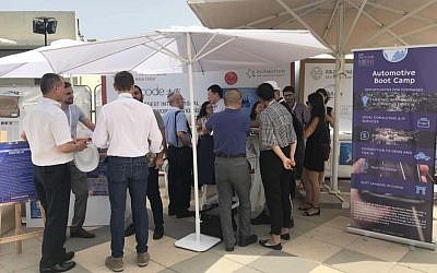 Techcode's stand at the EcoMotion smart mobility conference in Tel Aviv; May 24, 2018 (Moran Nizry)
