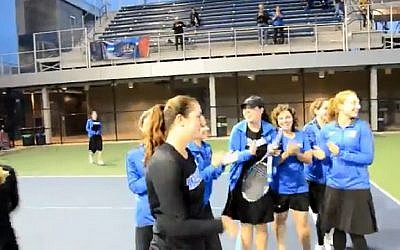 Illustrative image of Yeshiva University women's tennis team 2017. (Screen capture: YouTube)