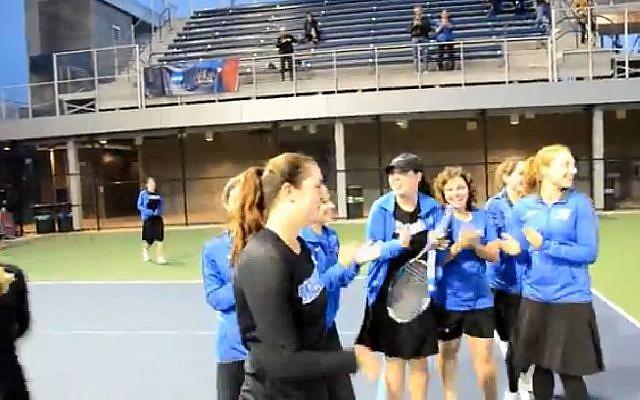 Illustrative image of Yeshiva University women's tennis team 2017. (Screen capture: YouTube)
