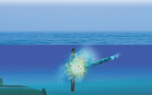 A simulation showing the Torbuster torpedo defense system. (Courtesy Rafael)