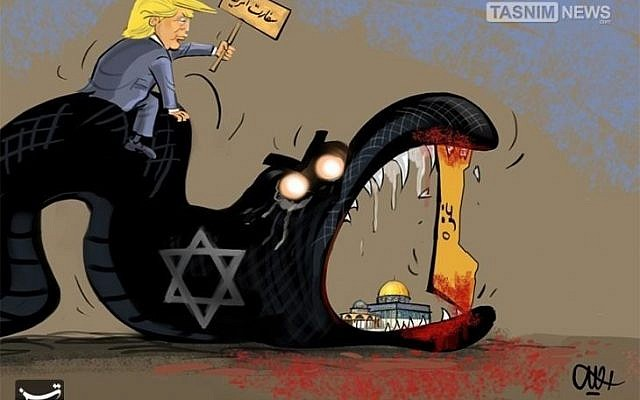 """Cartoon showing the Gaza Strip preventing the snake representing Israel from devouring the al-Aqsa Mosque in Jerusalem. US President Trump is depicted riding the snake, carrying a sign which reads """"The US Embassy."""" From Iran's Tasnim news agency May 15th, 2018. (via Anti-Defamation League)"""