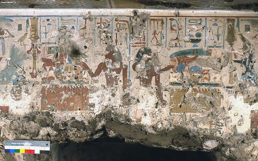 Senneferi stands at the right of this sub-scene facing left offering to a recumbent Anubis on top of a shrine in Luxor. (courtesy Nigel Strudwick/ Cambridge Theban Tombs Project)