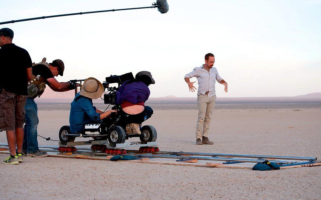Aaron Davidman filming 'Wrestling Jerusalem.' (Courtesy)