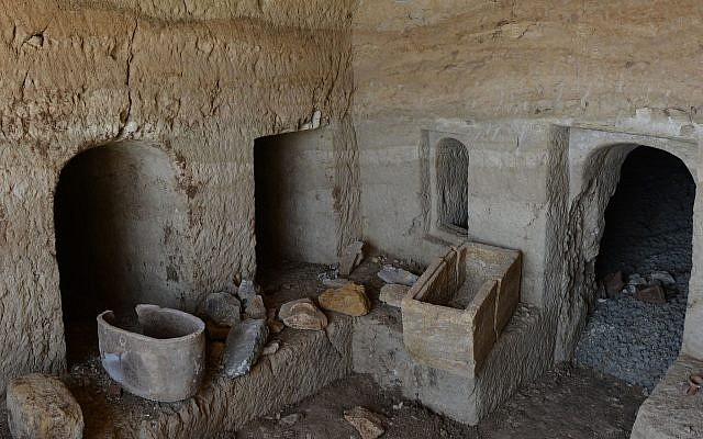 Burial chamber a three-room 2,000-year-old burial cave near Tiberias, June 2018. (Miki Peleg, Israel Antiquities Authority)