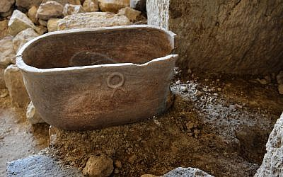 Ossuary found in a 2,000-year-old burial cave near Tiberias, June 2018. (Miki Peleg, Israel Antiquities Authority)