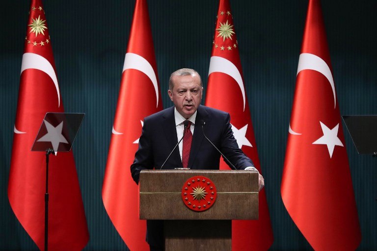 Turkish President Recep Tayyip Erdogan speaks during a press conference at the Presidential Complex in Ankara