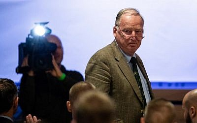"Federal spokesman of the far-right party Alternative for Germany (AfD) Alexander Gauland attends the party congress of the party's youth party ""Junge Alternative"" in Seebach, eastern Germany, on June 2, 2018. (AFP / dpa / Alexander PRAUTZSCH)"