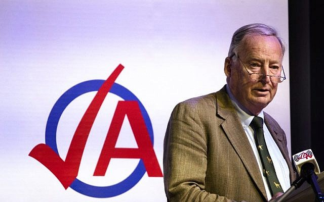 """Federal spokesman of the far-right party Alternative for Germany (AfD) Alexander Gauland speaks during the party congress of the party's youth party """"Junge Alternative"""" in Seebach, eastern Germany, on June 2, 2018. (AFP PHOTO / dpa / Alexander Prautzsch)"""
