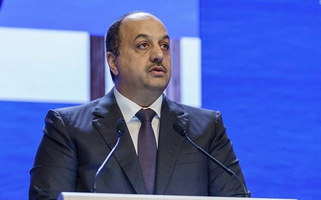 Qatar's Deputy Prime Minister and Defence Minister Khalid bin Mohammed Al Attiyah speaks at the fourth plenary session during the 17th Asian Security Summit of the IISS Shangri-La Dialogue in Singapore on June 3, 2018. (NICHOLAS YEO/AFP)