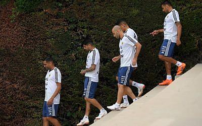 Argentina's players arrive for a training session at the FC Barcelona 'Joan Gamper' sports center in Sant Joan Despi near Barcelona on June 3, 2018. (AFP/Lluis Gene)