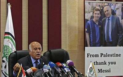 Jibril Rajoub, the head of the Palestinian Football Association, speaks during a press conference in the West Bank city of Ramallah on June 6, 2018. (Abbas Momani/AFP)