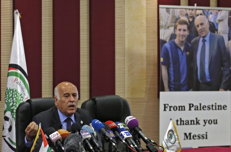 Image result for Palestinian soccer head and messi
