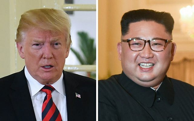 This combination of pictures shows a file photo taken on June 11, 2018 of US President Donald Trump (L) during his meeting with Singapore's Prime Minister Lee Hsien Loong (not pictured) at The Istana, the official residence of the prime minister, in Singapore; and a file image of North Korea's leader Kim Jong Un (R) during his meeting with the Singaporean leader the day before on June 10, 2018, in Singapore. (AFP PHOTO / SAUL LOEB AND ROSLAN RAHMAN)