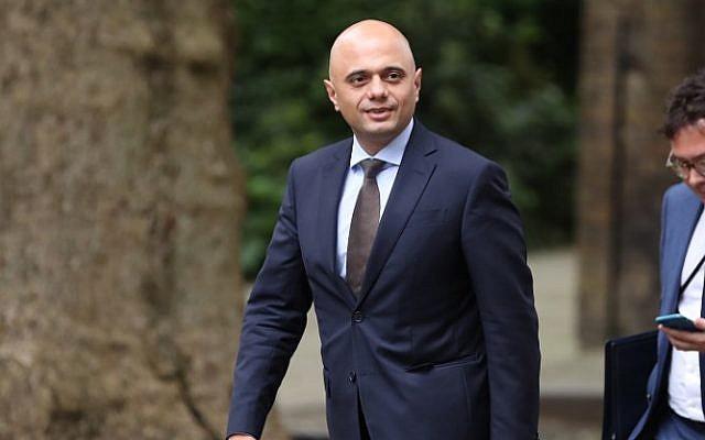 Britain's Home Secretary Sajid Javid walks along Downing Street in central London on June 12, 2018. (AFP/Daniel Leal-Olivas)