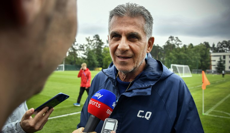 86f65c4c8 Iran s Portuguese coach Carlos Queiroz talks to media during a training  session in Bakovka outside Moscow on June 12