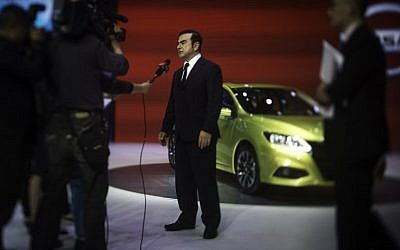 In this file photo takenon April 25, 2016, Chief Executive Officer of Renault Carlos Ghosn gives an interview at the Beijing Auto Show in Beijing. (AFP/Fred DuFour)