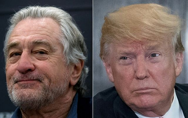 This combination of file pictures created on June 12, 2018 shows US actor Robert De Niro (L) delivering a press conference on May 16, 2018 and US President Donald Trump following a signing ceremony during the US-North Korea summit in Singapore on June 12, 2018. (Jorge Guerrero and Saul Loeb/AFP)