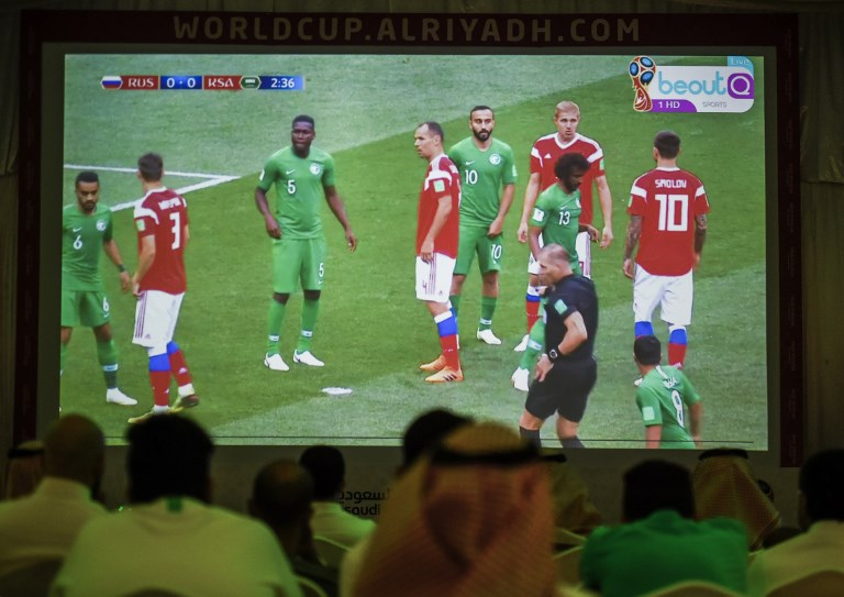 719463805b3c Saudi football fans watch the Russia 2018 World Cup Group A football match  between Russia and