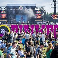 Festival goers gather during the first day of the music festival Pinkpop, at Landgraaf on June 15, 2018. (Marcel van Hoorn/AFP)