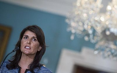 US Ambassador to the United Nation Nikki Haley speaks at the US Department of State in Washington DC on June 19, 2018. (AFP Photo/Andrew Caballero-Reynolds)