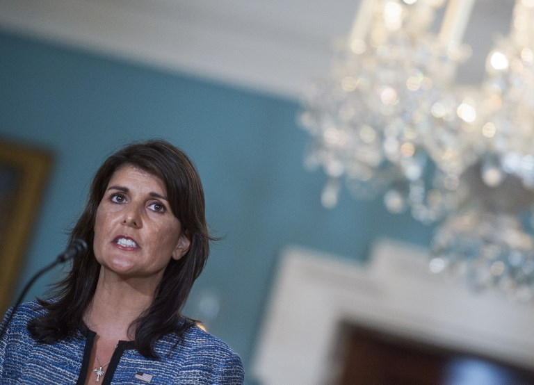 US Ambassador to the United Nation Nikki Haley speaks at the US Department of State in  sc 1 st  The Times of Israel & Haley: Human Rights Council nations back Israel -- but only behind ...