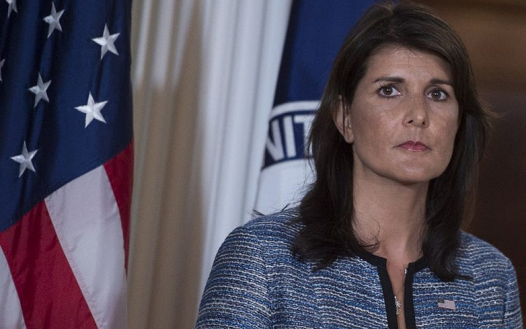 US Ambassador to the United Nation Nikki Haley speaks at the US Department of State in Washington DC on June 20, 2018 (AFP PHOTO / Andrew CABALLERO-REYNOLDS)