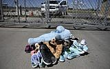 Shoes and toys for immigrant children are left at the Tornillo Port of Entry near El Paso, Texas, June 21, 2018. (Brendan Smialowski/AFP)