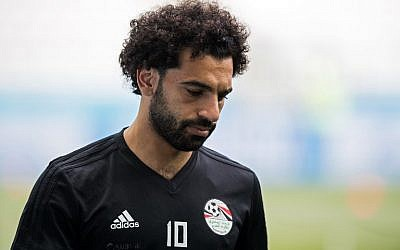 Egypt's Mohamed Salah trains with his team at the Volgograd Arena in Volgograd on June 24, 2018, on the eve of their Group A match against Saudi Arabia during the Russia 2018 World Cup football tournament. (AFP PHOTO / NICOLAS ASFOURI)