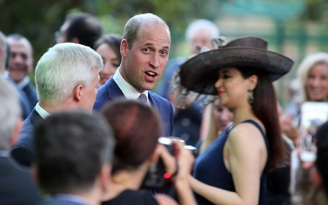 Britain's Prince William attends a birthday party in honour of his grandmother, Queen Elizabeth II, at the residence of the British ambassador in the Jordanian capital Amman on 24 June, 2018. (AFP/ AHMAD ABDO)