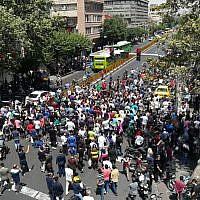Iranian protesters in central Tehran on June 25, 2018. (AFP Photo/Atta Kenare)