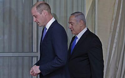 Britain's Prince William meets with Israeli Prime Minister Benjamin Netanyahu on June 26, 2018 in Jerusalem. (AFP/ POOL/ Thomas COEX)