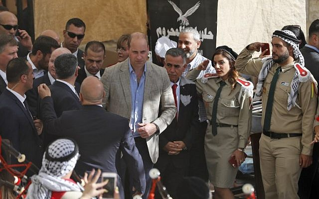Britain's Prince William visits the West Bank city of Ramallah on June 27, 2018. The Duke of Cambridge is the first member of the royal family to make an official visit to the Jewish state and the Palestinian territories. ( AFP PHOTO / Ahmad GHARABLI)