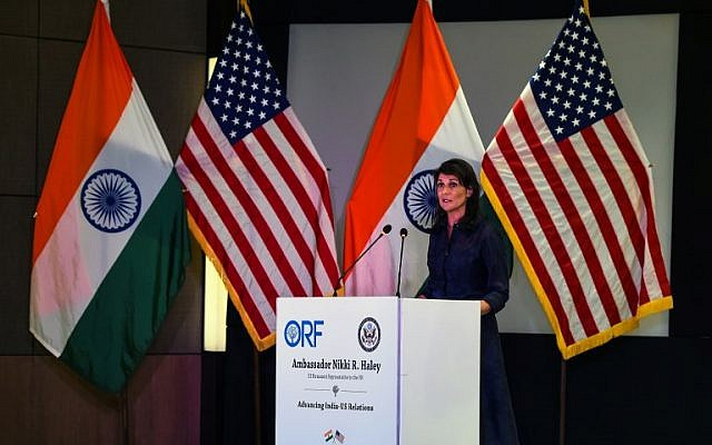 US Ambassador to the United Nations Nikki Haley speaks during an address on advancing India-US relations at an event in New Delhi on June 28, 2018. (AFP PHOTO / CHANDAN KHANNA)