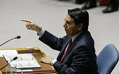 File: Israel's ambassador to the United Nations Danny Danon speaks to members of the UN Security Council during an emergency session on the Israel-Gaza Conflict at United Nations headquarters in New York on May 30, 2018. (Eduardo Munoz Alvarez/Getty Images/AFP)