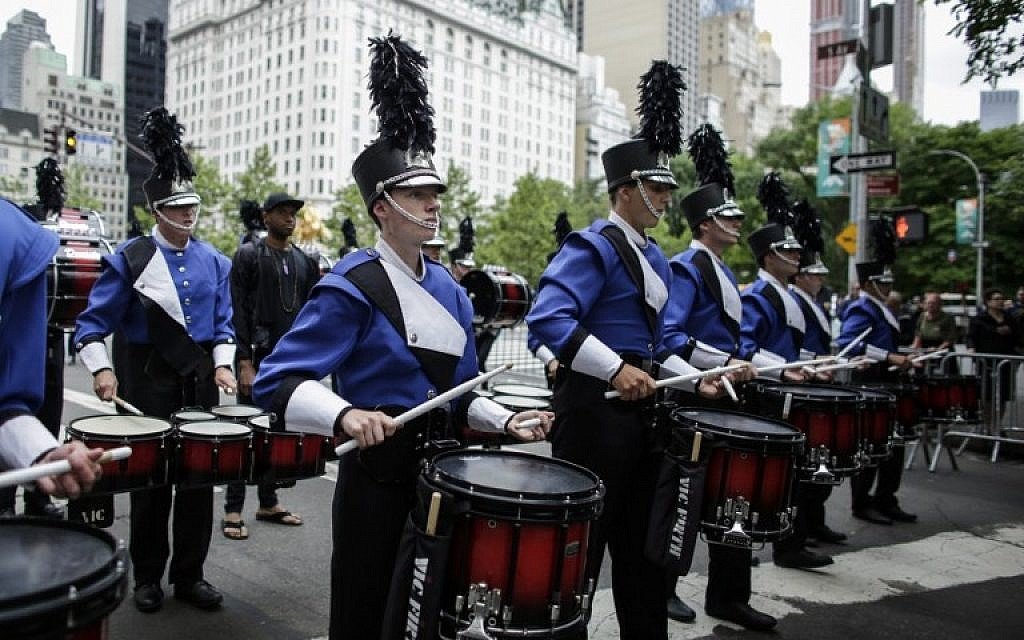 A marching band performs during the annual Celebrate Israel Parade on June 3, 2018 in New York City. (Kena Betancur/Getty Images/AFP)