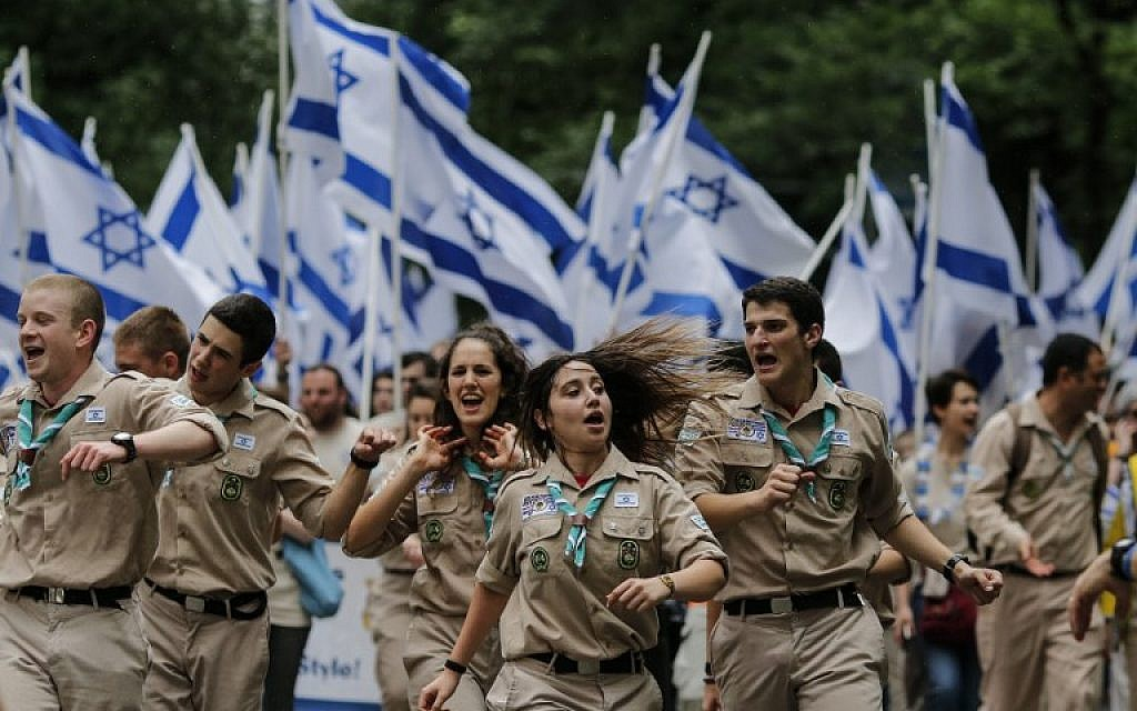 Members of the Israel Boy and Girl Scouts Federation participate in the annual Celebrate Israel Parade on June 3, 2018 in New York City. (Kena Betancur/Getty Images/AFP)