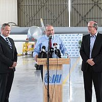 Defense Minister Avigdor Liberman speaks during a tour of Israeli Aerospace Industries, June 18, 2018 (Shahar Levy/Defense Ministry)
