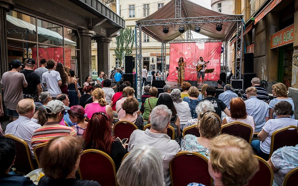 A musical performance  at the Judafest street festival in Budapest, June 10, 2018. (Marton Monus/ Balint House JCC)