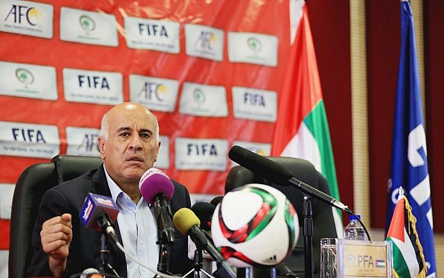 Palestinian Football Federation President Jibril Rajoub addresses journalists at a press conference in the West Bank on June 9, 2015 (Mohamed Farraj / Wafa)