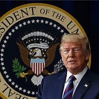 In this May 30, 2018 photo, US President Donald Trump arrives for a bill signing ceremony in the South Court Auditorium on the White House campus, May 30, 2018, in Washington. (AP Photo/Evan Vucci)