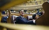 Spain's socialist opposition leader Pedro Sanchez sits at the start of the second day of a motion of no-confidence session at the Spanish parliament in Madrid on June 1, 2018. (AP Photo/Francisco Seco)