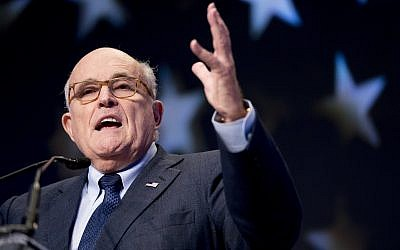 Rudy Giuliani, an attorney for US President Donald Trump, speaks at the Iran Freedom Convention for Human Rights and Democracy in Washington, DC, on May 5, 2018. (AP Photo/ Andrew Harnik)
