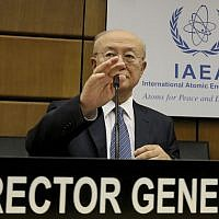 Director General of the International Atomic Energy Agency, IAEA, Yukiya Amano of Japan, waits for the start of the IAEA board of governors meeting at the International Center in Vienna, Austria, June 4, 2018. (Ronald Zak/AP)