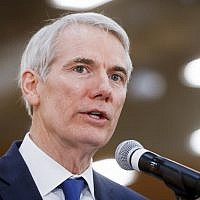 In this April 16, 2018, photo, Sen. Rob Portman, R-Ohio, speaks during a news conference in Cincinnati. (AP Photo/John Minchillo)