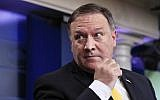 US Secretary of State Mike Pompeo talks to reporters about North Korea during the daily press briefing in the Brady press briefing room at the White House, in Washington, June 7, 2018. (AP Photo/Manuel Balce Ceneta)