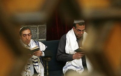 In this April 20, 2008, file photo, Syrian Jews celebrate Passover at the al-Firenj Synagogue in downtown Damascus, Syria. (AP Photo/Bassem Tellawi, File)