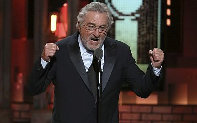 Robert De Niro introduces a performance by Bruce Springsteen at the 72nd annual Tony Awards at Radio City Music Hall, June 10, 2018, in New York. (Michael Zorn/Invision/AP)