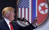 US President Donald Trump answers questions about the summit with North Korea leader Kim Jong Un during a press conference at the Capella resort on Sentosa Island Tuesday, June 12, 2018 in Singapore. (AP Photo/Susan Walsh)