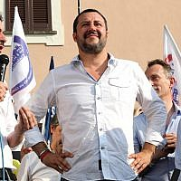 Italian Interior Minister Matteo Salvini, center, attends a local election rally in Cinisello Balsamo, near Milan, Italy, Sunday, June 17, 2018 (Matteo Bazzi/ANSA via AP)
